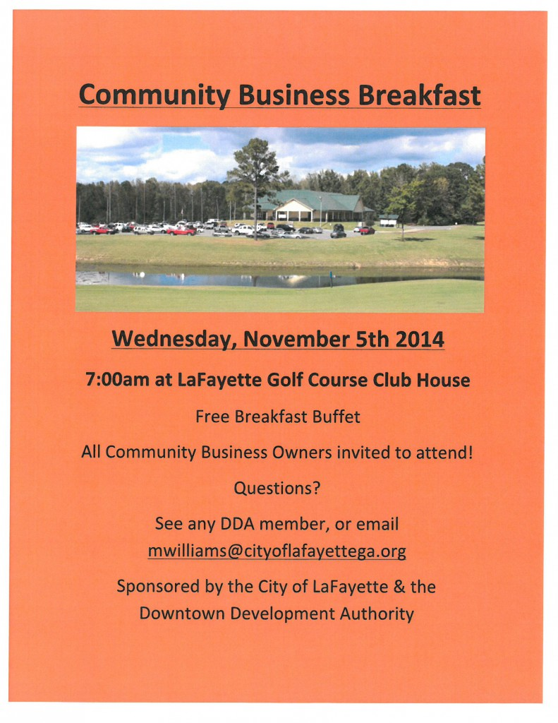 Community Business Breakfast @ LaFayette Golf Course | LaFayette | Georgia | United States