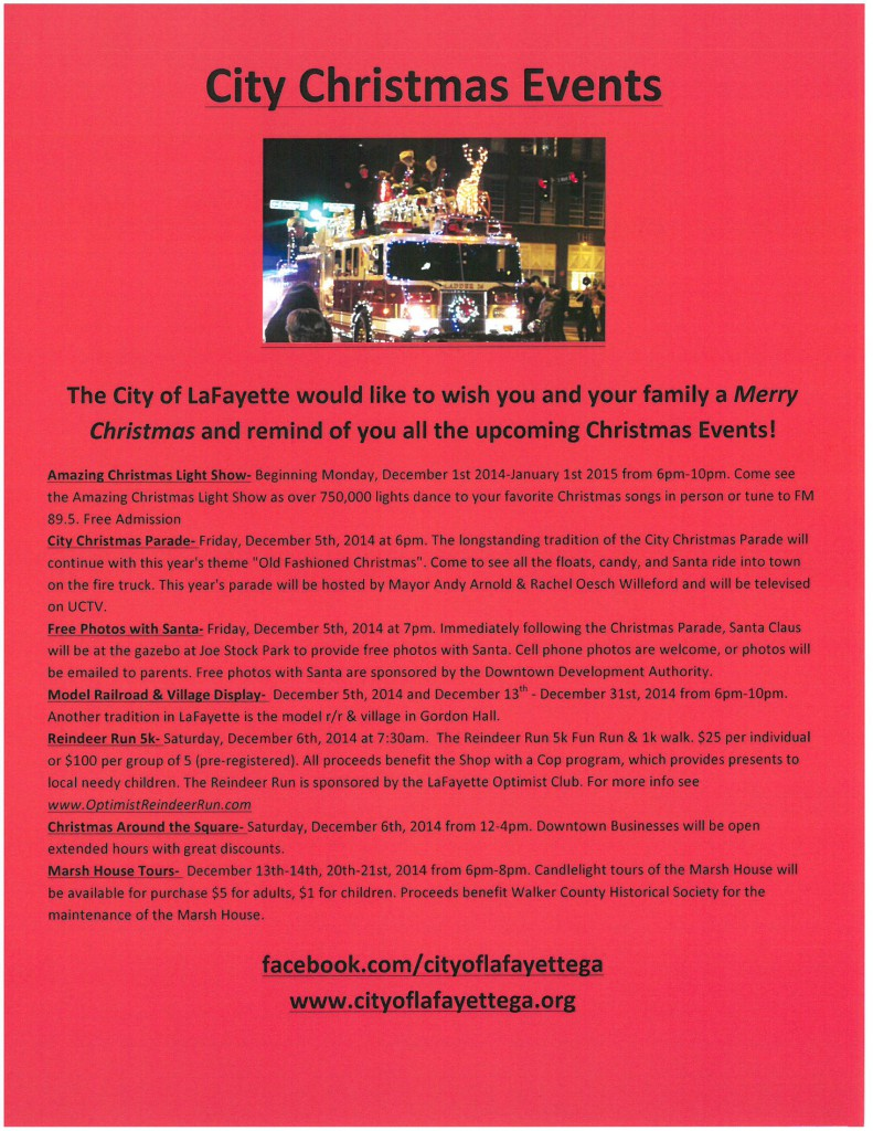Christmas Events Flyer 2014