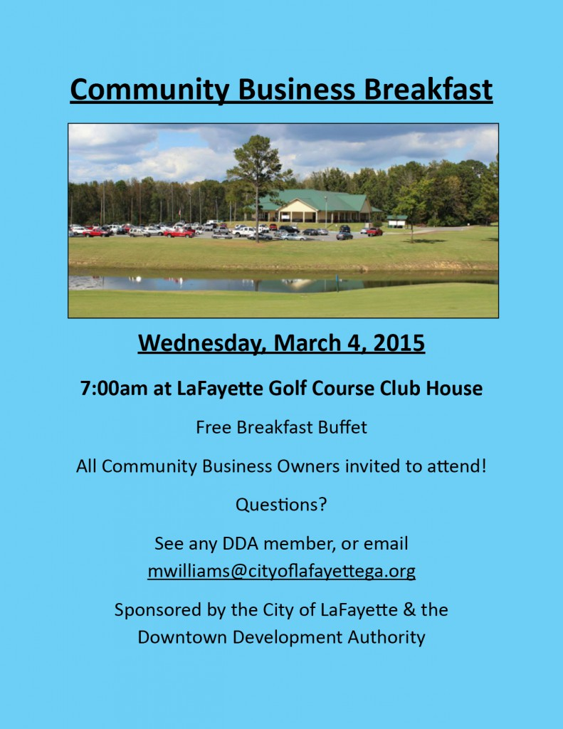 Community Business Breakfast @ LaFayette Golf Course Club House | LaFayette | Georgia | United States