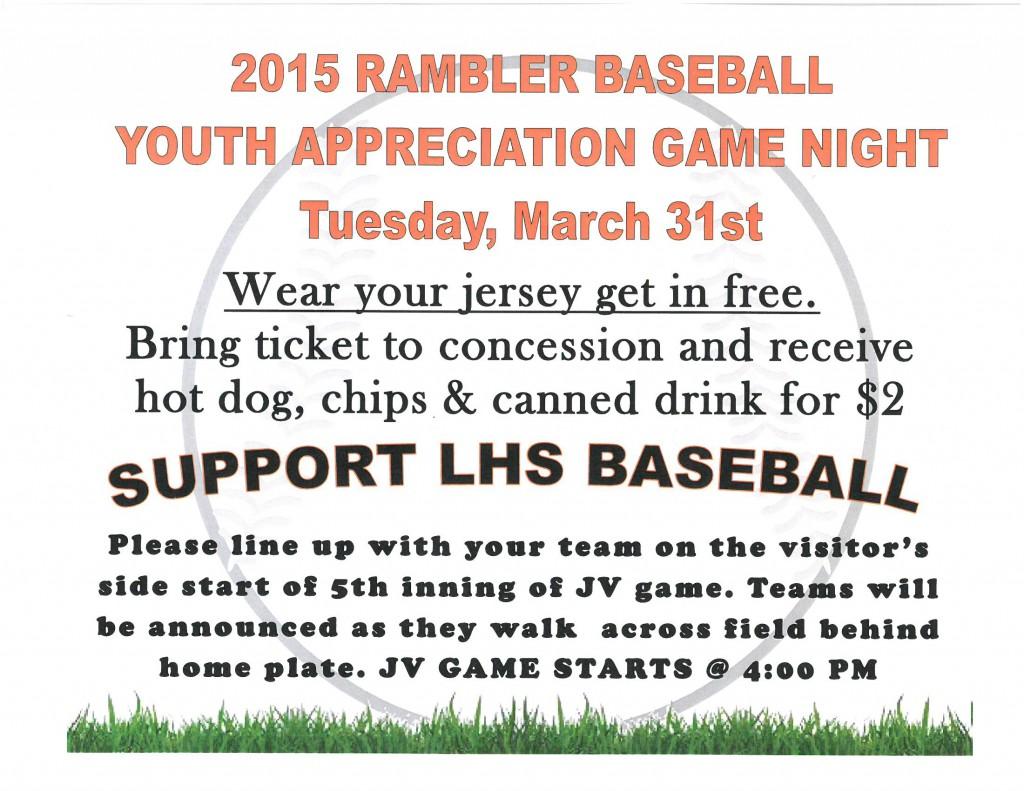 2015 Rambler Baseball Youth Appreciation Game Night